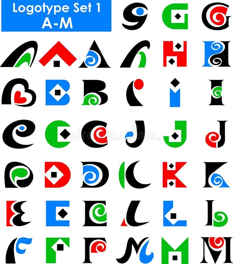 字母表eps徽标集 库存例证