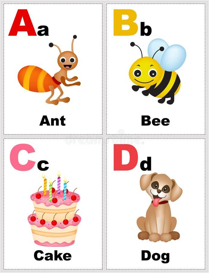 字母表flashcards 向量例证