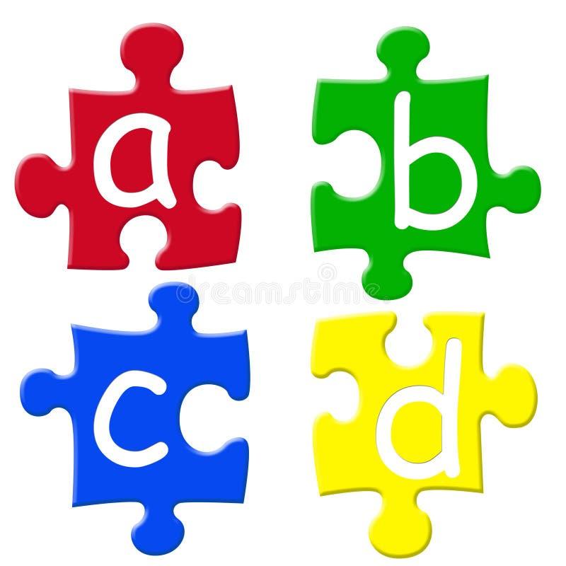 字母表puzzels 皇族释放例证