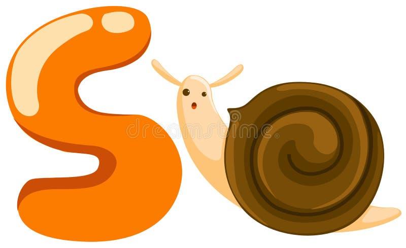 字母表s蜗牛 皇族释放例证