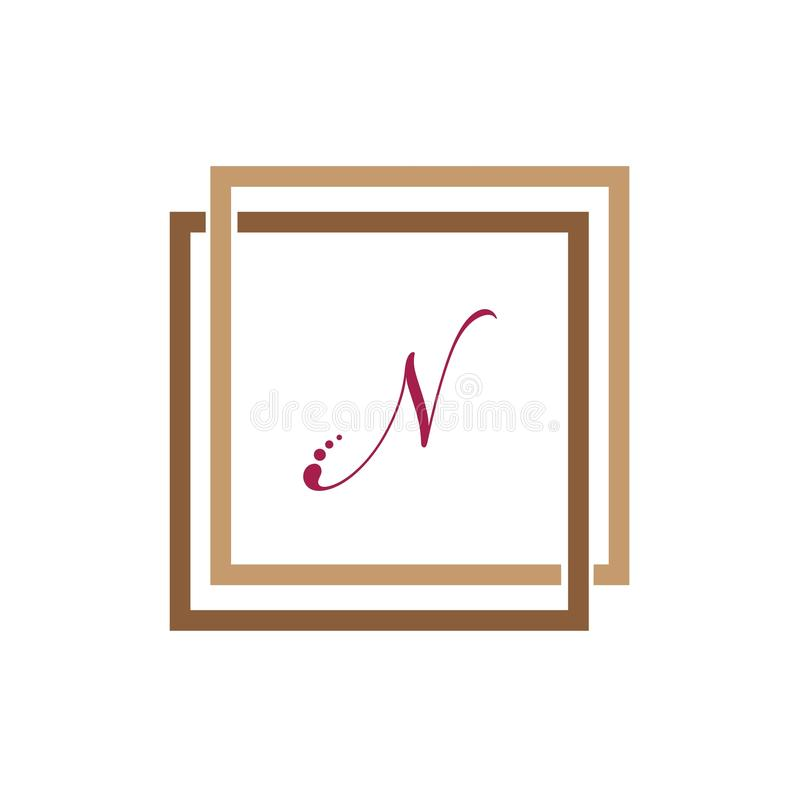 字母N企业公司抽象团结传染媒介商标设计模板 向量例证