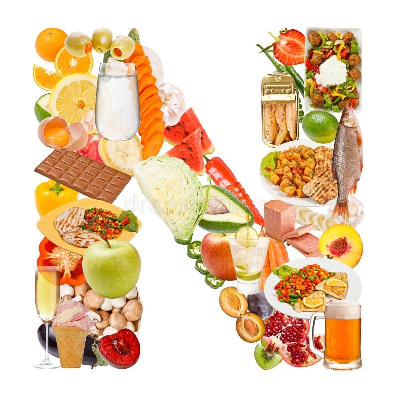 字母N由食物制成 库存图片