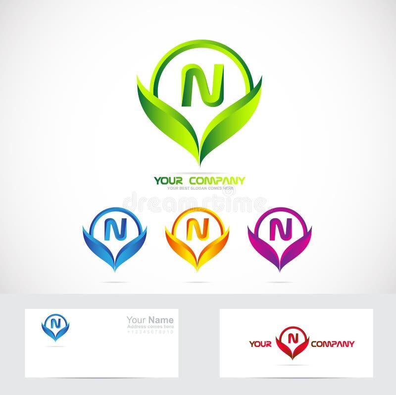 字母n绿色叶子商标集合
