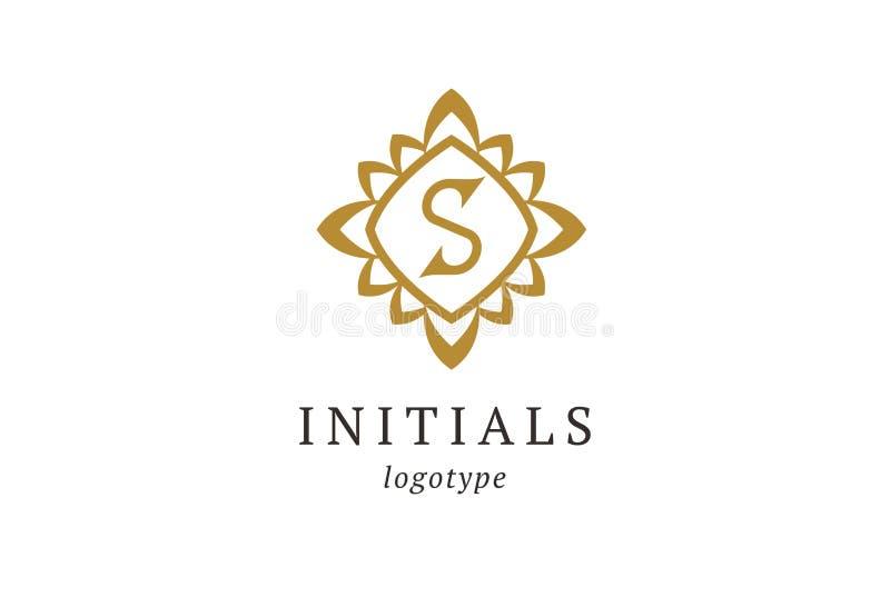 字母S传染媒介商标 葡萄酒权威和略写法 企业标志,身分,标签,徽章最初 组合图案设计元素, 库存例证