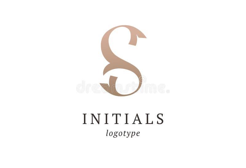 字母S传染媒介商标 葡萄酒权威和略写法 企业标志,身分,标签,徽章最初 组合图案设计元素, 向量例证