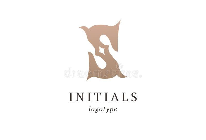 字母S传染媒介商标 葡萄酒权威和略写法 企业标志,身分,标签,徽章最初 组合图案设计元素, 皇族释放例证