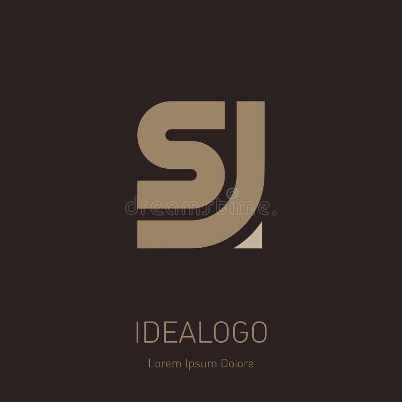 字母S和J商标设计 最小的组合图案标志 优质企业略写法 SJ -典雅的普遍传染媒介标志 图形符号 库存例证