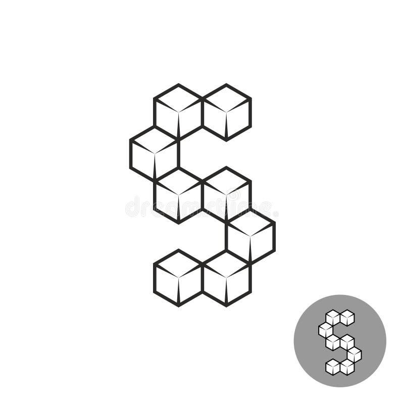 字母S商标包括3D糖立方体 皇族释放例证