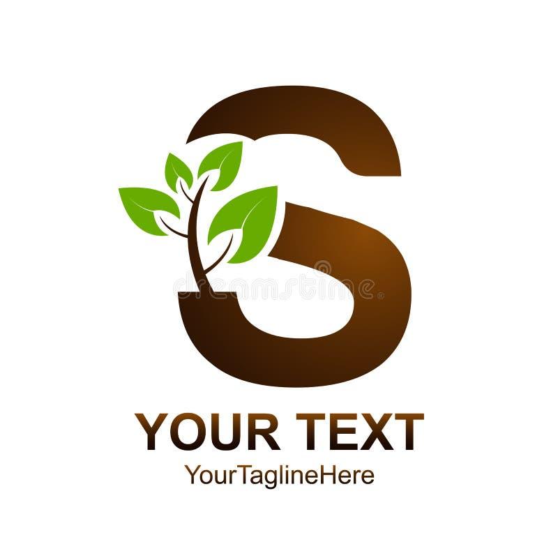 字母S商标设计模板上色了棕色绿色叶子自然de 库存例证