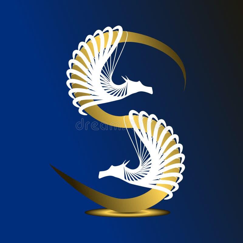 字母S是金黄的在与白色龙的深蓝背景 库存例证