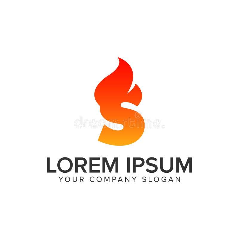 字母S燃烧火焰商标设计观念模板 r 库存例证