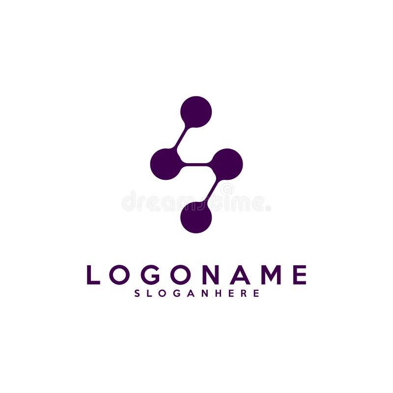 字母S略写法、技术和数字式抽象小点连接导航商标 皇族释放例证