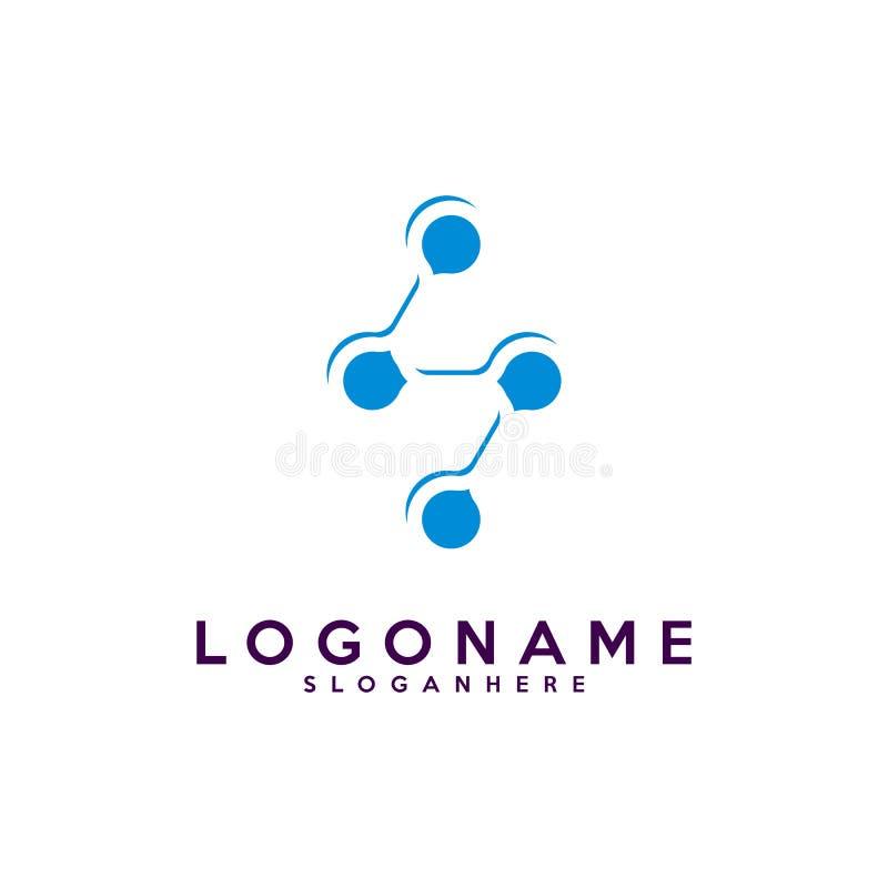 字母S略写法、技术和数字式抽象小点连接导航商标 向量例证