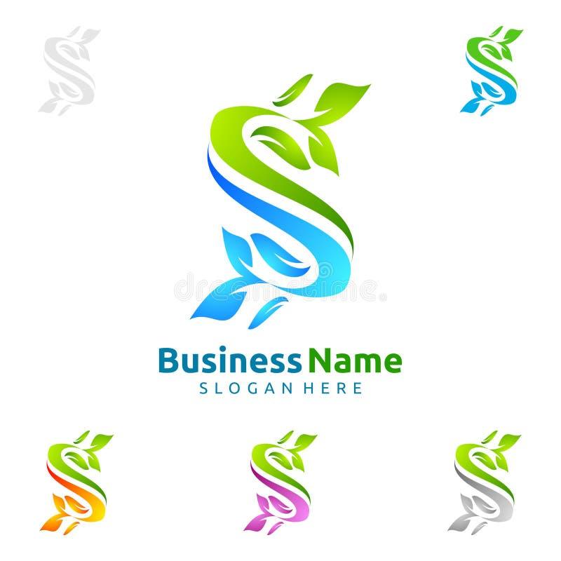 字母S,生态叶子商标模板自然绿色树  库存例证