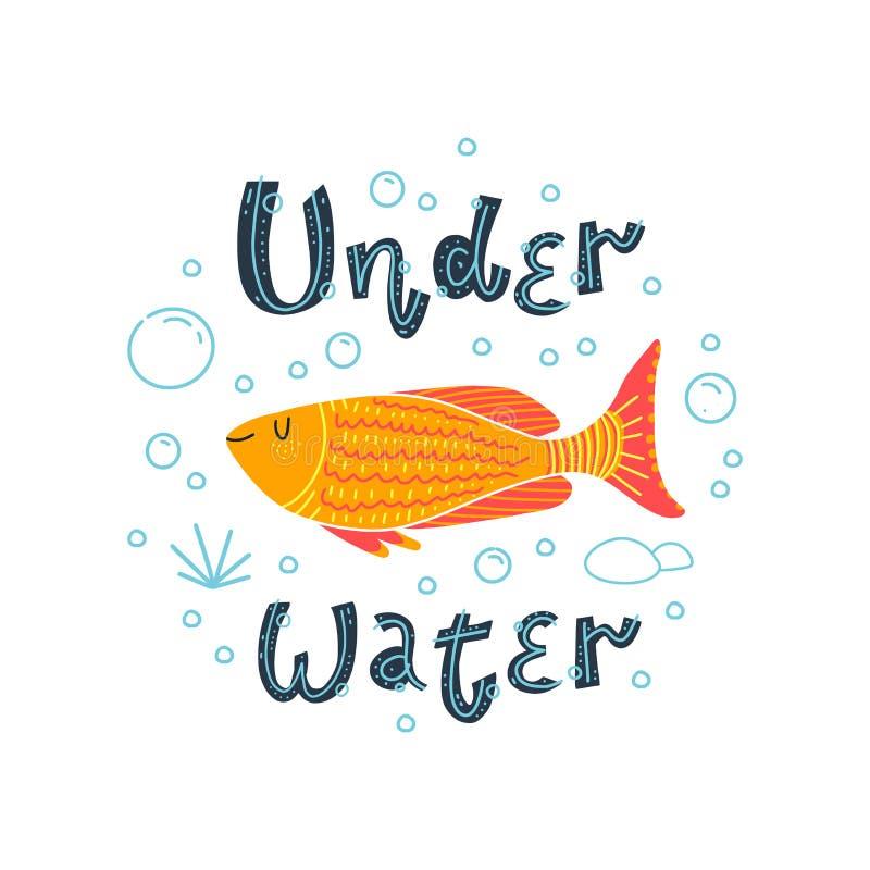 美丽的金黄鱼 字法-在水下 r 皇族释放例证