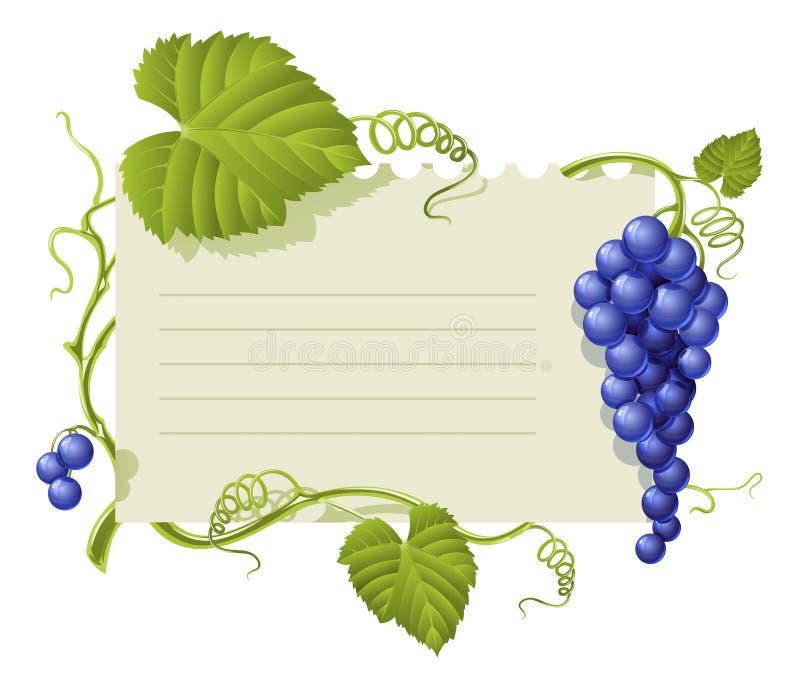 字符串框架葡萄绿色叶子葡萄酒 库存例证