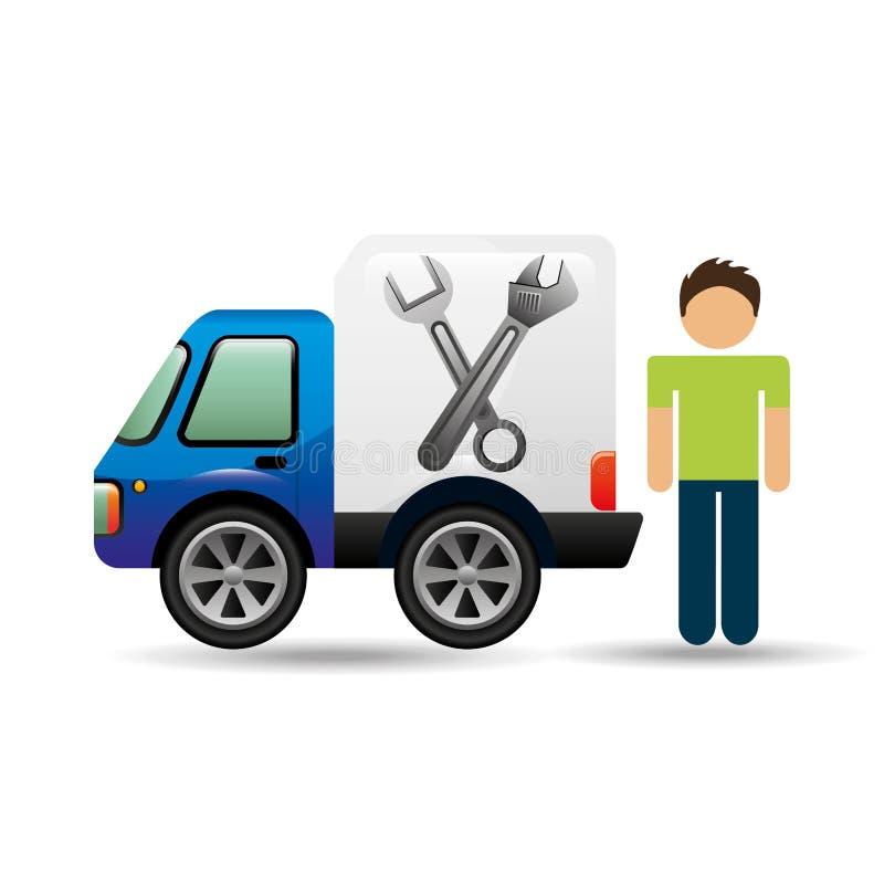 字符人汽车修理公司设计 向量例证