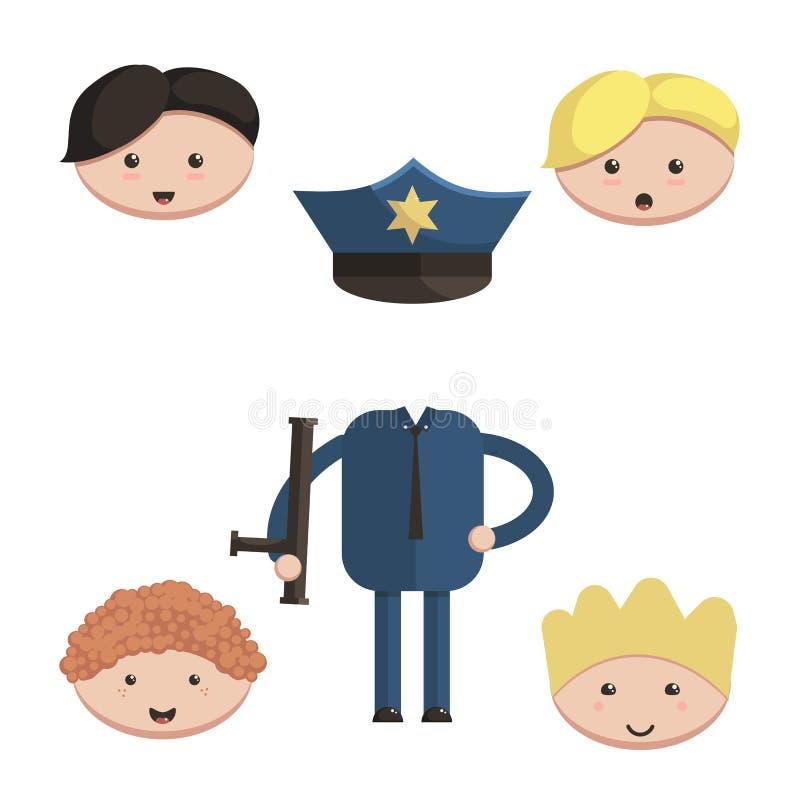 插画 包括有 盖帽, 设计, 部分, 工作, 头发, 建设者, 发型, 例证图片