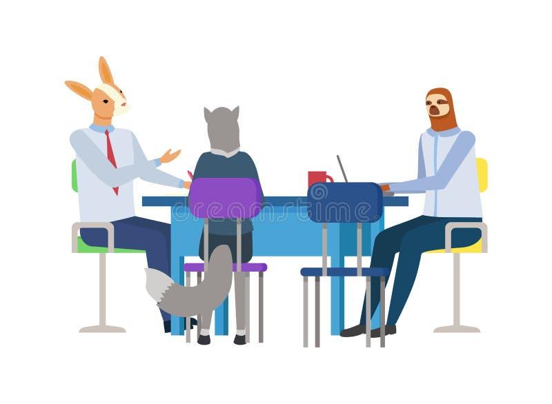 字符兔子、狼和怠惰会议传染媒介 皇族释放例证