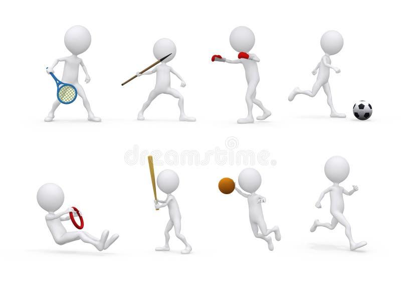 字符另外形象位置被设置的体育运动 库存例证