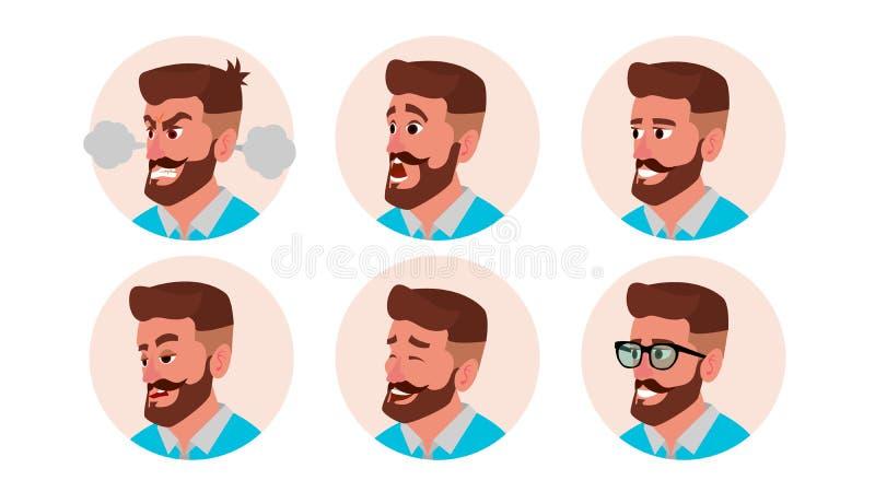 字符商人具体化传染媒介 有胡子的人面孔,被设置的情感 创造性的缺省具体化占位符 动画片 皇族释放例证