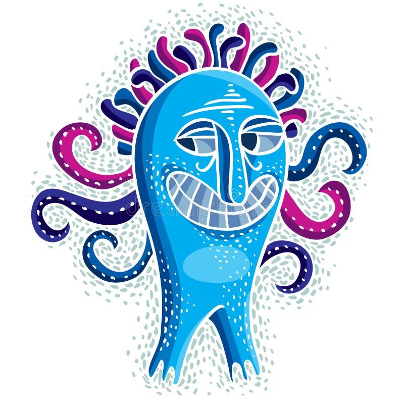 字符妖怪传染媒介平的例证,疯狂的微笑的蓝色m 向量例证