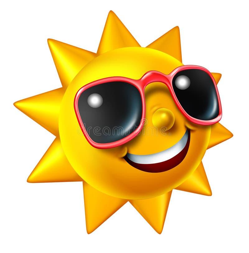 字符微笑的夏天星期日 库存例证