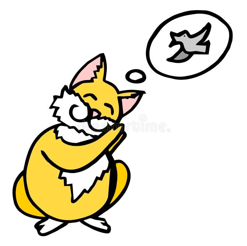 字符是作梦鸟的一只红色猫 例证 库存例证