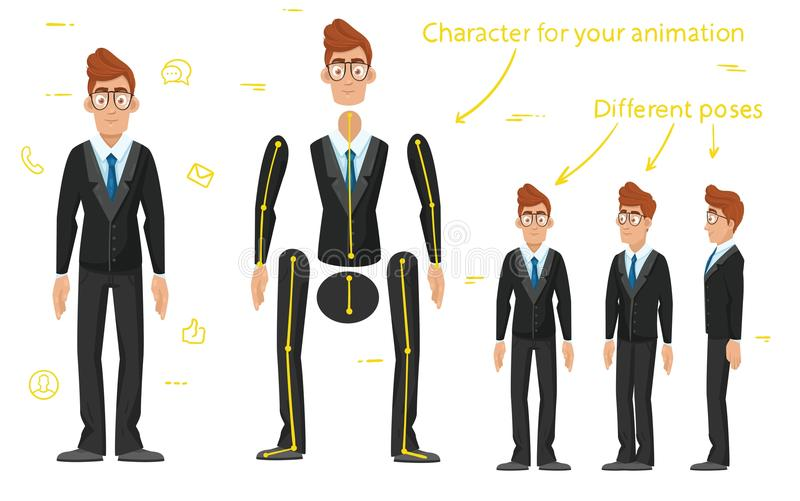 字符是商人 字符准备好动画 步行动画 向量例证