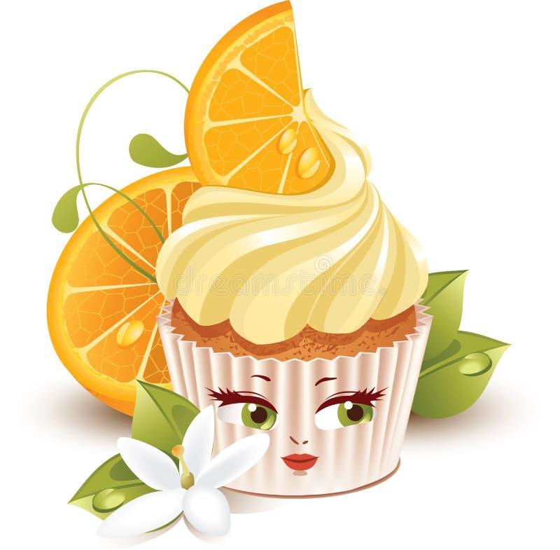 字符杯形蛋糕桔子 库存例证