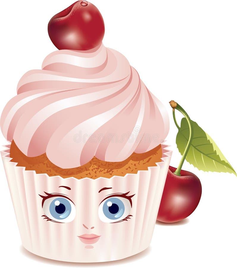 字符樱桃杯形蛋糕 向量例证