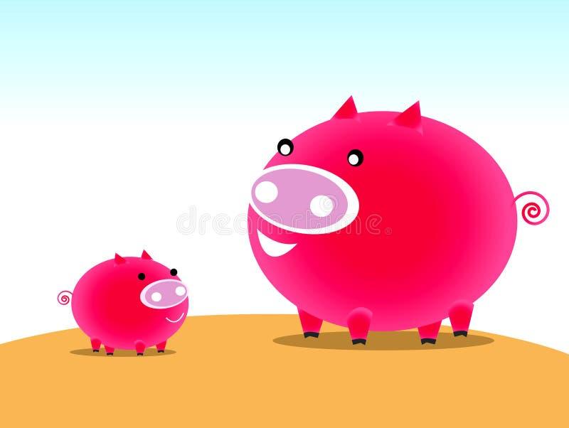 字符猪 向量例证