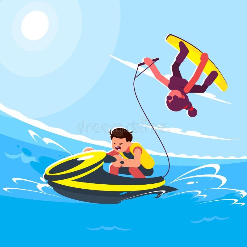 字符的平的样式例证在普遍的夏天海滩活动和水活动性的 人乘坐水 向量例证