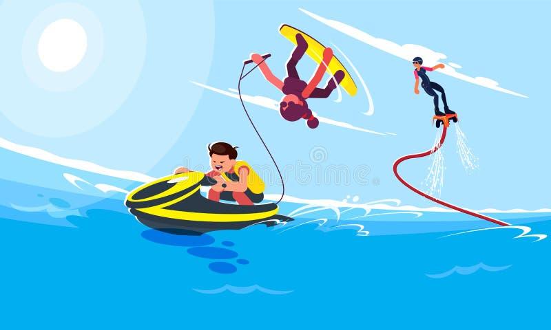字符的平的样式例证在普遍的夏天海滩活动和水活动性的 人乘坐水 库存例证