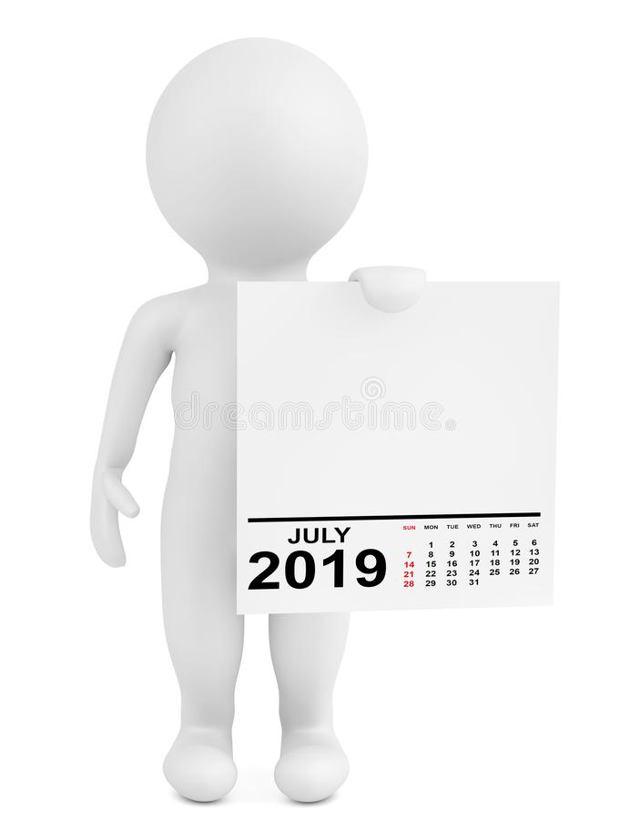 字符藏品日历2019年7月 3d?? 向量例证