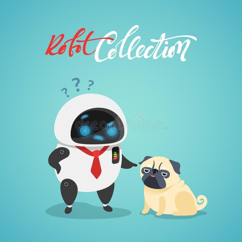 字符逗人喜爱在平的样式 滑稽的动画片机器人和狗 向量例证