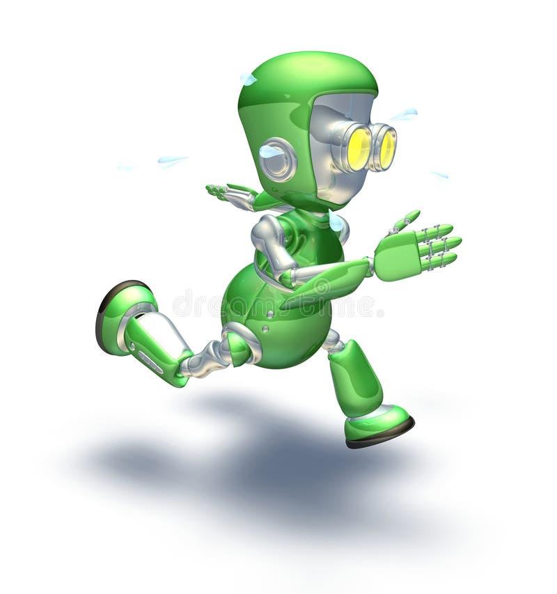 字符逗人喜爱的绿色金属机器人运行&# 向量例证