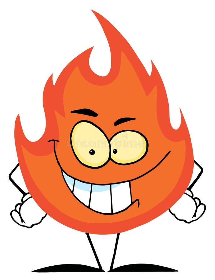 字符邪恶火焰咧嘴 库存例证