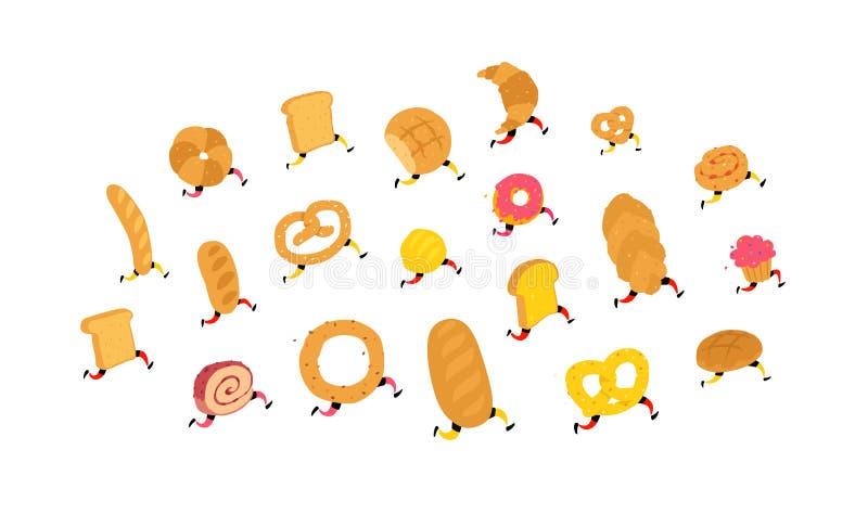 字符面包店产品 ?? 与腿的跑的字符 站点的象 新鲜的面包店和糖果店交付  皇族释放例证