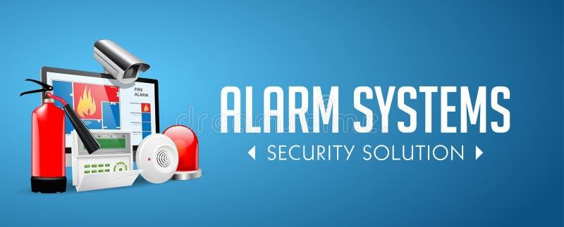存取控制系统-警报区域-保障系统概念-网站横幅 皇族释放例证