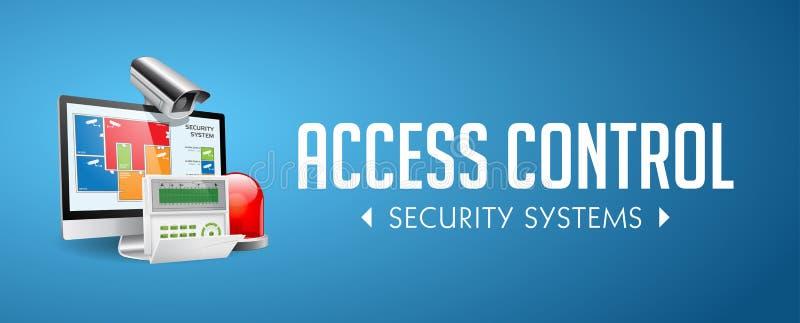 存取控制系统-警报区域-保障系统概念-网站横幅 库存例证