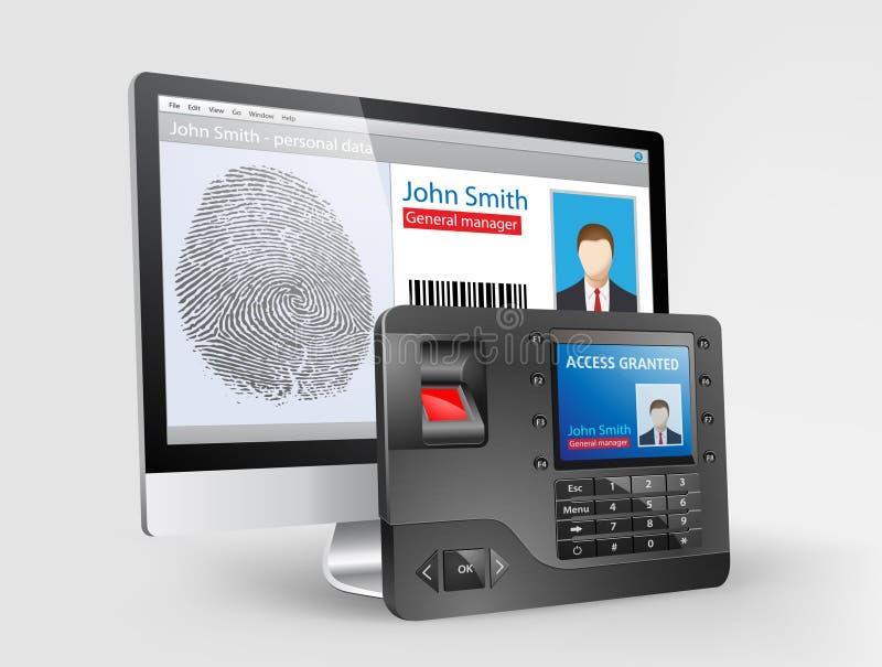 存取控制-指纹扫描器2 皇族释放例证