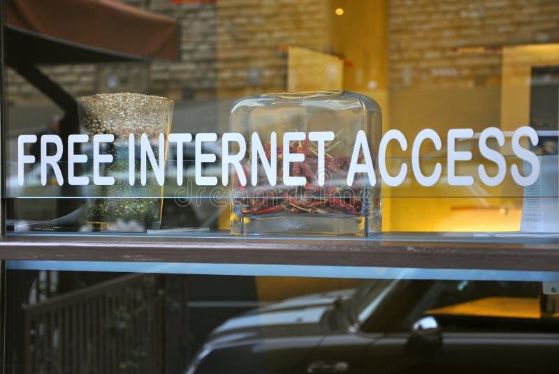 存取自由互联网餐馆 免版税库存照片