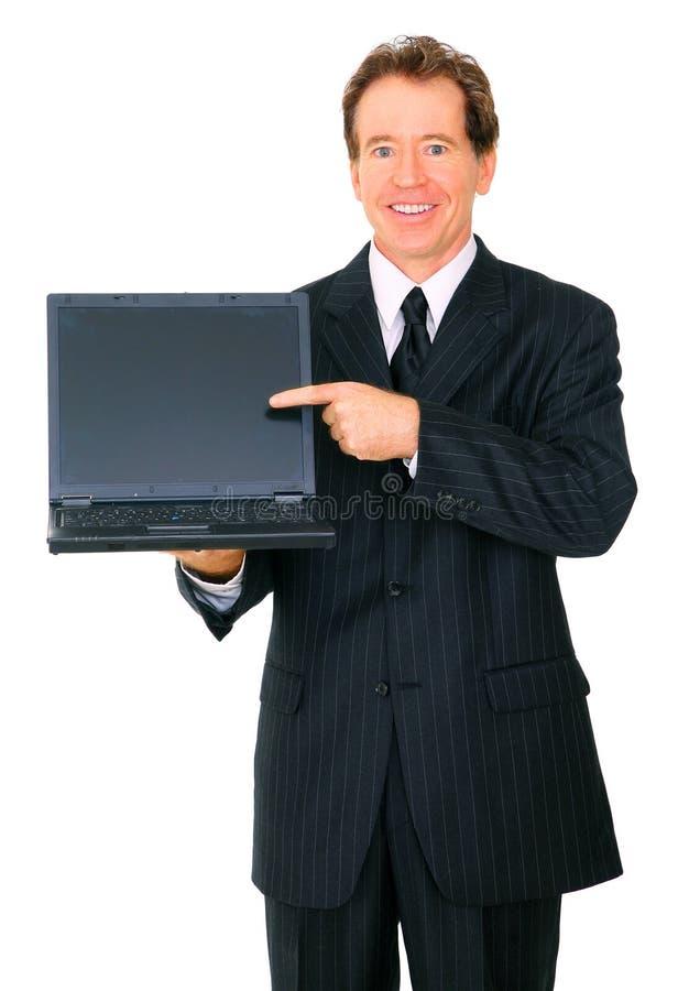 存在前辈的生意人膝上型计算机对浏览器 免版税库存照片