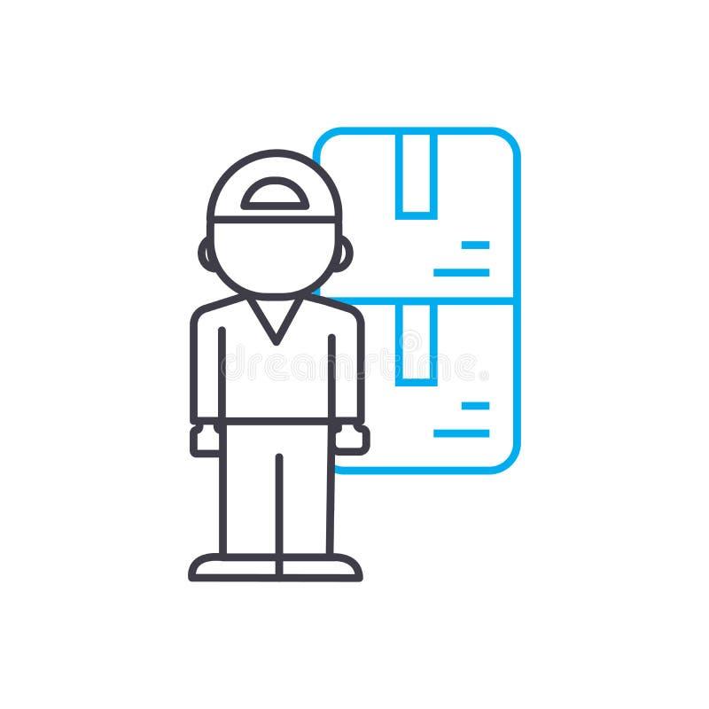 存放老板传染媒介稀薄的线冲程象 存放老板概述例证,线性标志,标志概念 库存例证