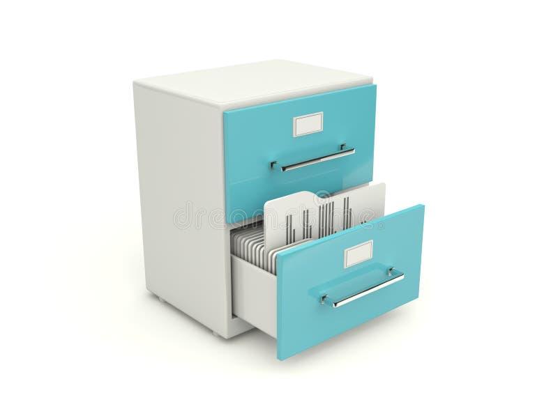 存档蓝色机柜图标 库存例证