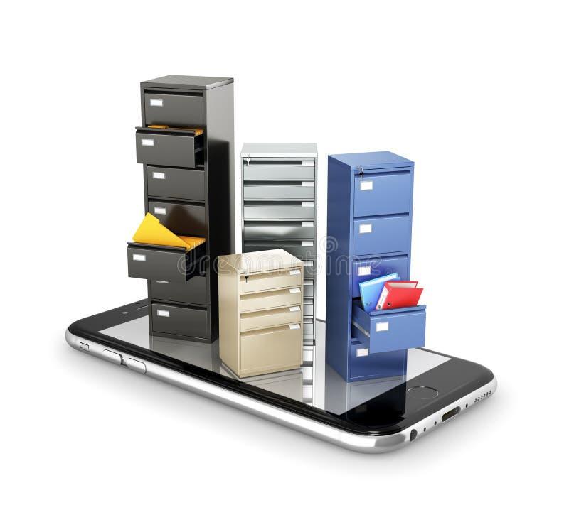 存贮的概念 数据存储的衣物柜在智能手机的屏幕上站立 皇族释放例证