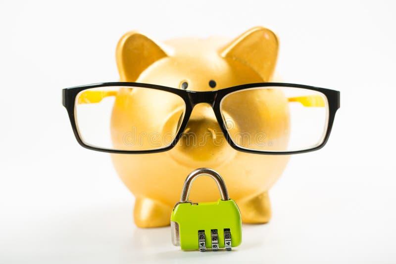 存金钱,锁您的预算 库存照片