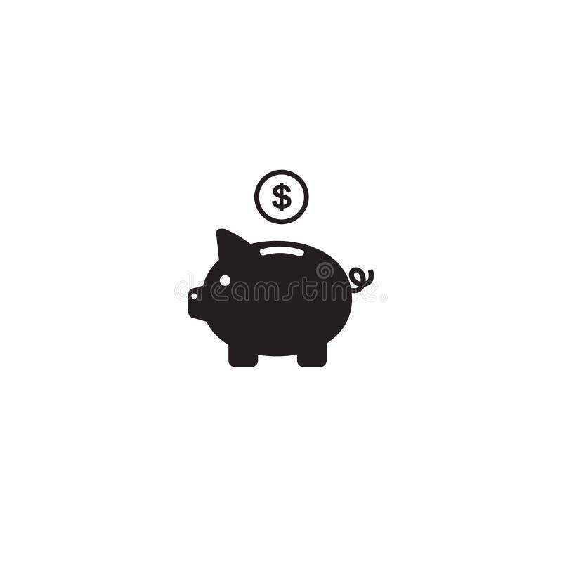 存钱罐与在白色背景和moneybox平的标志标志商标例证的象传染媒介隔绝的美元硬币 库存例证