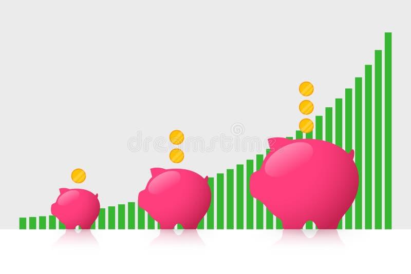 存钱罐和利润增长 库存例证